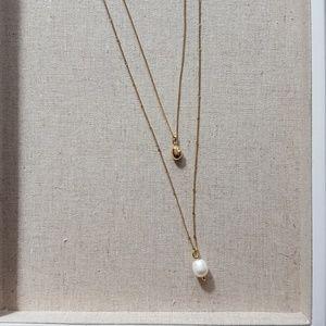 Stella & Dot delicate double pearl pendant necklac